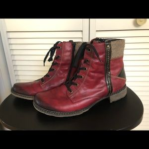 Remonte Red Leather Ankle Boots Size 40 (EU)